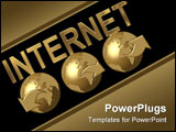 PowerPoint Template - illustration of 3 golden globes with internet
