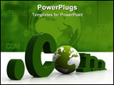 PowerPoint Template - three dimensional dot com with globe green