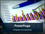 PowerPoint Template - colorful sales charts, calculator, blue pen and glasses