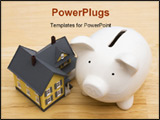 PowerPoint Template - Close up of a home with a piggy bank
