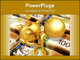 PowerPoint Template - A 3D render of a golden puppet carrying piggy bank