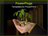 PowerPoint Template - ew plant sprouting from a handful of golden coins isolated - concept for business innovation growth