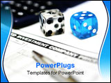 PowerPoint Template - close up of the word investment on newspaper with pen dices and a calculator on background.