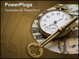 PowerPoint Template - An old brass key atop a pocket-watch with a backdrop of money in a portrayal of risk management.