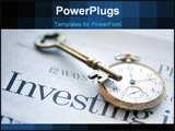PowerPoint Template - Pocket watch and skeleton key atop the business section of a newspaper with the word Investing