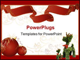PowerPoint Template - A white christmas themed background frame with intricate patterns red ribbon and toys.