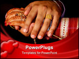 PowerPoint Template - Newly wed Indian couple clasp hands. Shows henna covered brides hand and bangles