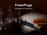 PowerPoint Template - Hand hold holy koran book & Worshiping ** Note: Slight blurriness, best at smaller sizes