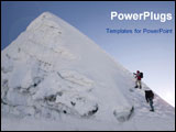 PowerPoint Template - two climbers about to summit island peak in nepal