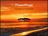 PowerPoint Template - Island silhouette and a sunset beach with vivid colors