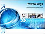 PowerPoint Template - Technology background with computer components and world