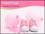PowerPoint Template - pink shoes and balloons for a newborn girl