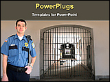 PowerPoint Template - a security guard in a jail block