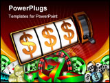 PowerPoint Template - 3d illustration of machine slot jackpot with dollar signs