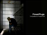 PowerPoint Template - Lonely man sits in jail cell.
