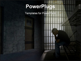 PowerPoint Template - Prisoner in old jail cell with cell bars
