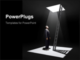 PowerPoint Template - A man standing in a pit looking up to the ladder that leads out in to the light.