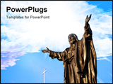 PowerPoint Template - bronze sculpture of Jesus christ with a white cross
