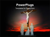 PowerPoint Template - crucifixion scene in front of colorfull sunset
