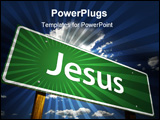 PowerPoint Template - Jesus Green Road Sign Illustration on a Radiant Blue Background.