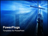 PowerPoint Template - jesus holding a cross on blue background with white rays