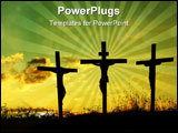 PowerPoint Template - Silhouette of Jesus Christ and two thieves crucified
