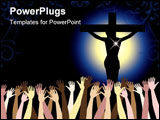 PowerPoint Template - Vector Illustration showing the power of the holy spirit Jesus Christ on cross. Easter Resurrection