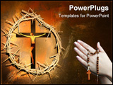 PowerPoint Template - Holy crown of thorns hanging on a grungy wall at Easter