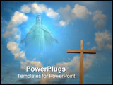 PowerPoint Template - A statue of Jesus Christ on sky