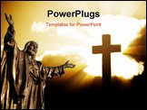 PowerPoint Template - Silhouette of a cross in beams of light