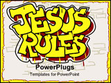 PowerPoint Template - The words Jesus Rules are painted graffiti style on a brick wall.