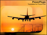 PowerPoint Template - Sillohuette of black jet over orange sunset.