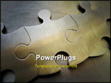 PowerPoint Template - metallic jigsaw on a steel background