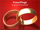 PowerPoint Template - two golden rings on a red background