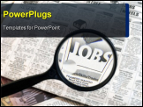 PowerPoint Template - newspaper opened to the want ads. magnifying glass highlighting the word jobs