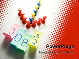 PowerPoint Template - conceptual image of arrow sign pointing to a word JOBS