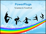 PowerPoint Template - Silhouettes of the people jumping on a rainbow in the sky