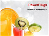 PowerPoint Template - a glass of orange juice with cut fruits
