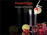 PowerPoint Template - rganic juice made from red grape cherry and lime surrounded by fresh fruits. Series about organic a