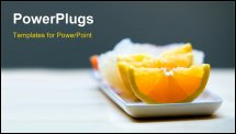 PowerPoint Template - Slices of juicy oranges served on plate. Healthy fruit concept