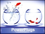 PowerPoint Template - goldfish jumping into bowl with other goldfish