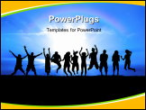 PowerPoint Template - Silhouettes of a celebratory group jump in field of grass bright sun behind