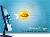 PowerPoint Template - fish jumping from The Flat panel lcd computer monitor