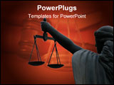 PowerPoint Template - silhouette of goddess of justice on maroon background.