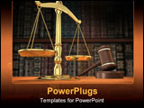 PowerPoint Template - scales of justice and gavel on desk with dark background that allows for copyspace.