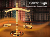 PowerPoint Template - brass scales of justice on a desk showing depth-of-field books behind in the background