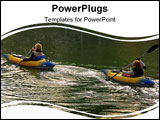 PowerPoint Template - two women kayaking on a lake at sunset.