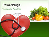 PowerPoint Template - Red heart plate and stethoscope over white backround