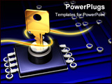 PowerPoint Template - 3d illustration of a metallic/brass key inserted into a simple microchip and circuit
