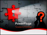 PowerPoint Template - Light shining though a keyhole in a red jigsaw puzzle piece